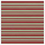 [ Thumbnail: Dark Sea Green and Maroon Stripes Pattern Fabric ]