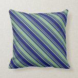 [ Thumbnail: Dark Sea Green and Midnight Blue Pattern Pillow ]