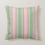 [ Thumbnail: Dark Sea Green and Pink Colored Stripes Pillow ]