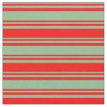 [ Thumbnail: Dark Sea Green and Red Colored Lines Fabric ]