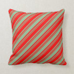 [ Thumbnail: Dark Sea Green and Red Colored Lines Throw Pillow ]