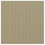 [ Thumbnail: Dark Sea Green and Sienna Colored Stripes Pattern Fabric ]