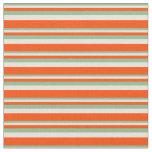 [ Thumbnail: Dark Sea Green, Beige & Red Stripes/Lines Pattern Fabric ]