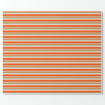 [ Thumbnail: Dark Sea Green, Beige & Red Stripes/Lines Pattern Wrapping Paper ]