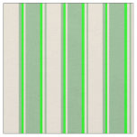 [ Thumbnail: Dark Sea Green, Bisque, and Lime Colored Pattern Fabric ]