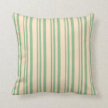 [ Thumbnail: Dark Sea Green & Bisque Striped Pattern Pillow ]