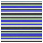 [ Thumbnail: Dark Sea Green, Blue, Beige & Black Colored Lines Fabric ]