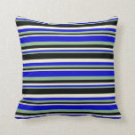 [ Thumbnail: Dark Sea Green, Blue, Beige & Black Colored Lines Throw Pillow ]