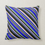 [ Thumbnail: Dark Sea Green, Blue, Bisque, and Black Colored Throw Pillow ]
