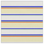 [ Thumbnail: Dark Sea Green, Blue, Mint Cream, Tan & Red Lines Fabric ]