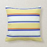 [ Thumbnail: Dark Sea Green, Blue, Mint Cream, Tan & Red Lines Throw Pillow ]