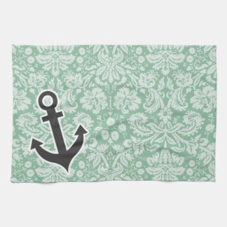 Dark Sea Green Damask; Anchor Kitchen Towel