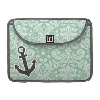 Dark Sea Green Damask; Anchor MacBook Pro Sleeves