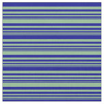 [ Thumbnail: Dark Sea Green & Dark Blue Stripes Fabric ]