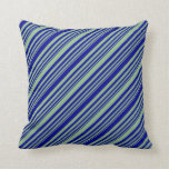 [ Thumbnail: Dark Sea Green & Dark Blue Stripes Throw Pillow ]