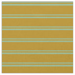 [ Thumbnail: Dark Sea Green & Dark Goldenrod Colored Pattern Fabric ]