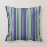 [ Thumbnail: Dark Sea Green & Dark Slate Blue Stripes Pattern Throw Pillow ]