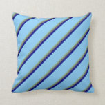 [ Thumbnail: Dark Sea Green, Dim Gray, Blue, and Light Sky Blue Throw Pillow ]