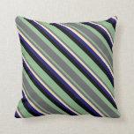 [ Thumbnail: Dark Sea Green, Gray, Bisque, Midnight Blue, Black Throw Pillow ]