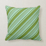 [ Thumbnail: Dark Sea Green, Green, and Turquoise Stripes Throw Pillow ]