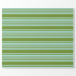 [ Thumbnail: Dark Sea Green, Green, and Turquoise Stripes Wrapping Paper ]