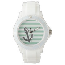 Dark Sea Green Horizontal Stripes; Anchor Wrist Watch