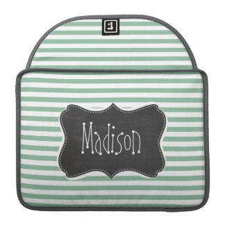 Dark Sea Green Horizontal Stripes; Chalkboard look Sleeve For MacBooks