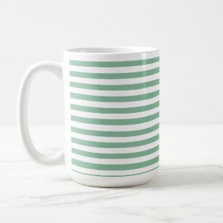 Dark Sea Green Horizontal Stripes Coffee Mug