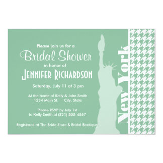 Dark Sea Green Houndstooth; Statue of Liberty Invitation