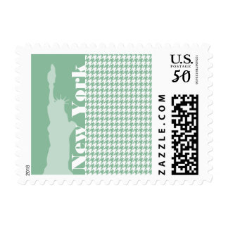 Dark Sea Green Houndstooth; Statue of Liberty Postage