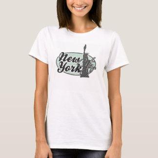 Dark Sea Green Houndstooth; Statue of Liberty T-Shirt