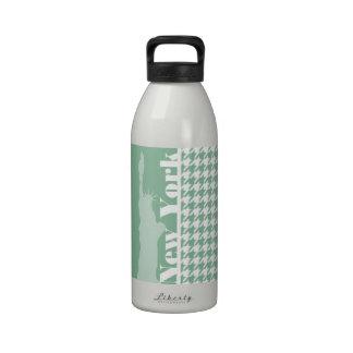 Dark Sea Green Houndstooth; Statue of Liberty Water Bottles
