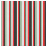 [ Thumbnail: Dark Sea Green, Lavender, Red & Black Pattern Fabric ]