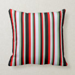 [ Thumbnail: Dark Sea Green, Lavender, Red & Black Pattern Throw Pillow ]