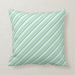 [ Thumbnail: Dark Sea Green & Light Cyan Lined/Striped Pattern Throw Pillow ]