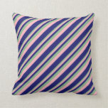 [ Thumbnail: Dark Sea Green, Light Pink & Midnight Blue Colored Throw Pillow ]