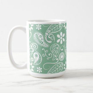 Dark Sea Green Paisley Coffee Mug