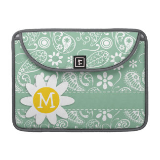 Dark Sea Green Paisley; Floral; Daisy Sleeve For MacBooks