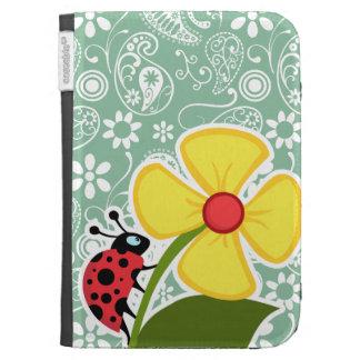 Dark Sea Green Paisley; Ladybug Kindle 3G Case