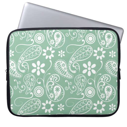 Dark Sea Green Paisley Laptop Sleeves
