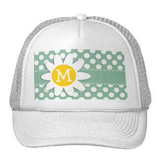 Dark Sea Green Polka Dots; Daisy Trucker Hat