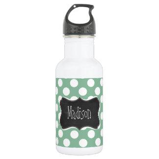 Dark Sea Green Polka Dots; Retro Chalkboard look 18oz Water Bottle