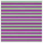 [ Thumbnail: Dark Sea Green & Purple Lined/Striped Pattern Fabric ]