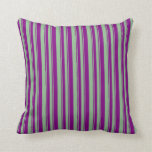 [ Thumbnail: Dark Sea Green & Purple Lined/Striped Pattern Throw Pillow ]