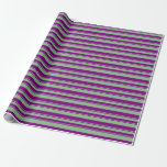 [ Thumbnail: Dark Sea Green & Purple Lined/Striped Pattern Wrapping Paper ]