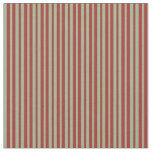 [ Thumbnail: Dark Sea Green & Red Colored Lined Pattern Fabric ]