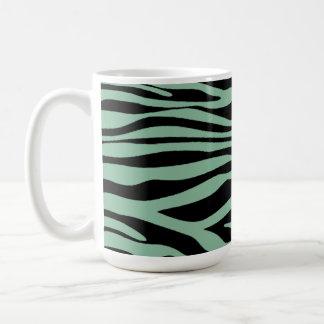 Dark Sea Green Zebra Stripes Animal Print Coffee Mug
