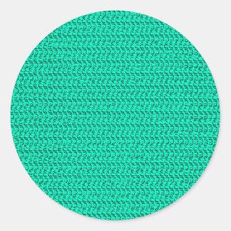 Dark Seafoam Green Weave Mesh Look Classic Round Sticker