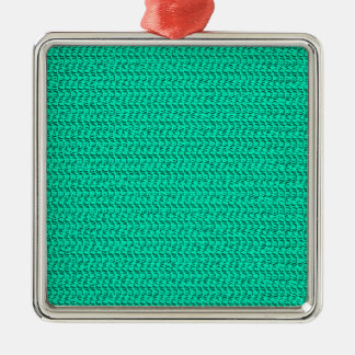 Dark Seafoam Green Weave Mesh Look Metal Ornament