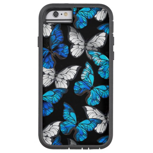 Dark Seamless Pattern with Blue Butterflies Morpho Tough Xtreme iPhone 6 Case